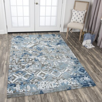 Duron Hand-Tufted Wool Gray/Blue Area Rug Rug Size: 5' x 8'