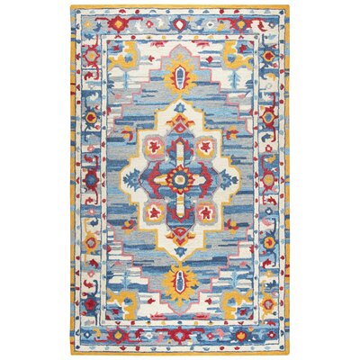 Duron Hand-Tufted Wool Natural/Blue Area Rug Rug Size: 5 x 8
