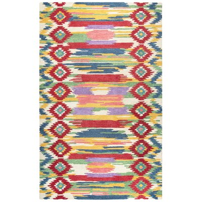 Duron Hand-Tufted Red/Natural Area Rug Rug Size: Rectangle 5 x 8