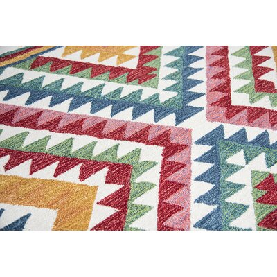 Bungalow Rose Duron Hand-Tufted Wool Red/Blue Area Rug