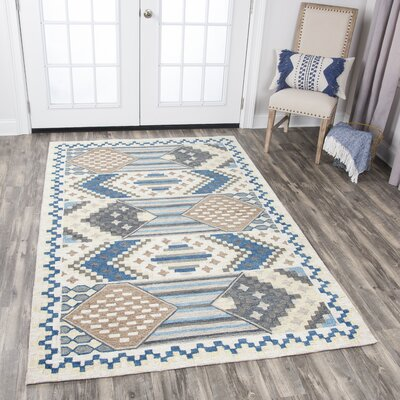Duron Hand-Tufted Blue/Gray Area Rug Rug Size: 5 x 8