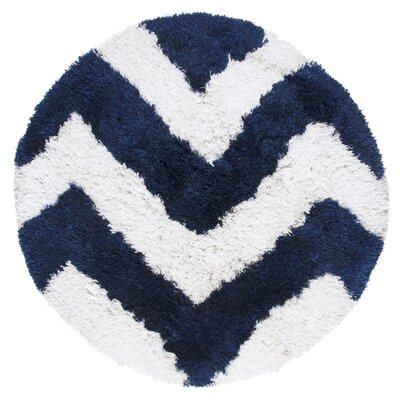 Deveral Hand-Tufted Navy/White Area Rug Rug Size: Round 3 x 3