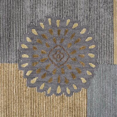 Waveland Hand Tufted Wool Beige/Blue Area Rug Rug Size: 5 x 8