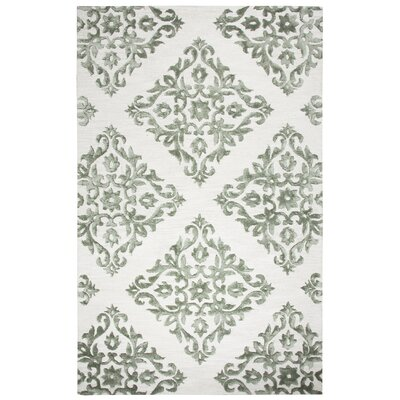 Kruze Hand Tufted Wool Light Gray Area Rug Rug Size: 2 x 3