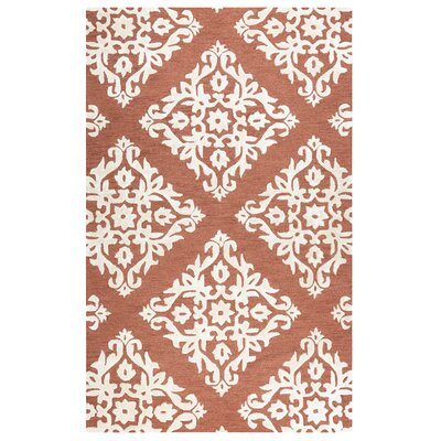 Aero Hand Tufted Wool Rust Area Rug Rug Size: 3 x 5