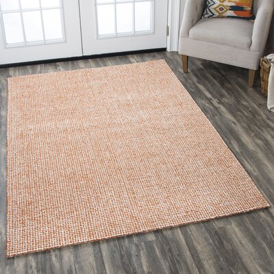 Lemington Hand-Tufted 100% Wool Orange Area Rug Rug Size: Rectangle 8 x 10