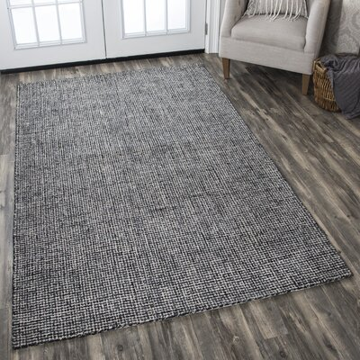 Guildhall Hand-Tufted 100% Wool Black Area Rug Rug Size: 8 x 10