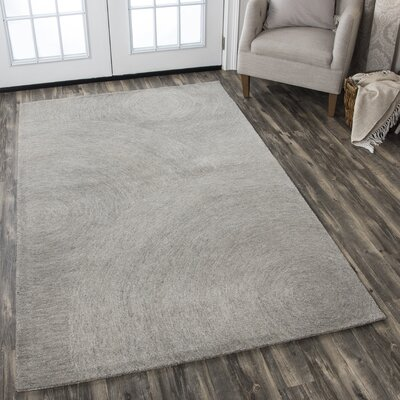 Zadiee Hand-Tufted 100% Wool Gray Area Rug Rug Size: 5 x 8