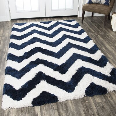 Deveral Hand-Tufted Navy/White Area Rug Rug Size: Rectangle 36 x 56