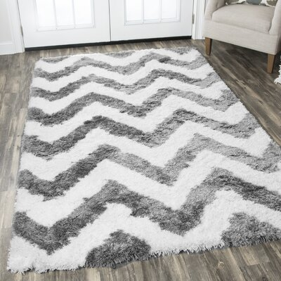 Devynn Hand-Tufted Gray/White Area Rug Rug Size: Rectangle 5 x 8