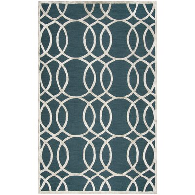 Fabian Hand Tufted Wool Teal Area Rug Rug Size: 5 x 8