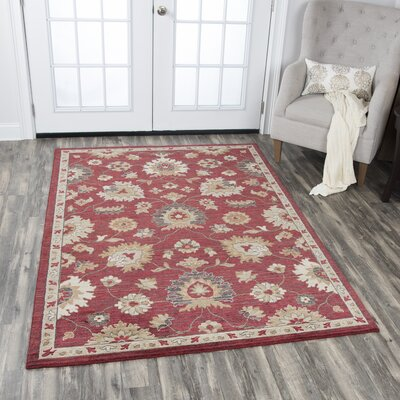 Corban Wool Red/Beige Area Rug Rug Size: 8 x 10