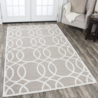 Fabian Hand Tufted Wool Light Gray Area Rug Rug Size: 3 x 5
