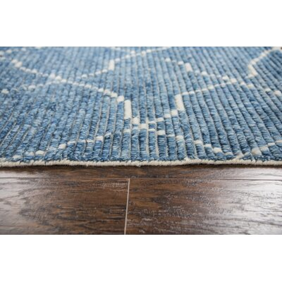 Doleman Hand-Knotted Wool Blue Area Rug Rug Size: Rectangle 89 x 119