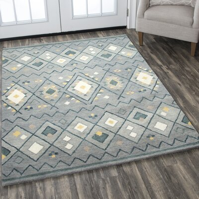 Nona Hand-Tufted Wool Gray Area Rug Rug Size: 9 x 12