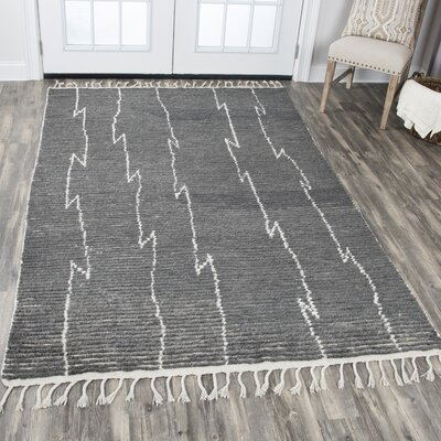 Doleman Hand-Knotted Wool Gray Area Rug Rug Size: Rectangle 79 x 99