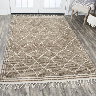 Doleman Hand-Knotted Wool Brown Area Rug Rug Size: 56 x 86