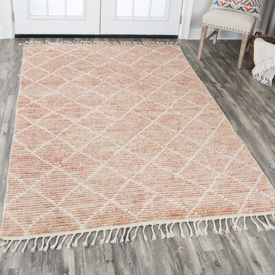 Doleman Hand-Knotted Wool Rust Area Rug Rug Size: Rectangle 89 x 119