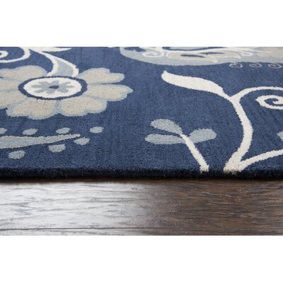 Raj Hand-Tufted Wool Navy Area Rug Rug Size: Rectangle 5 x 8