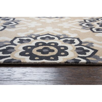 Raj Hand-Tufted Wool Beige Area Rug Rug Size: Rectangle 5 x 8