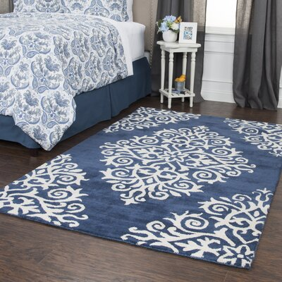 Gage Hand-Tufted Wool Navy Area Rug Rug Size: Rectangle 5 x 8