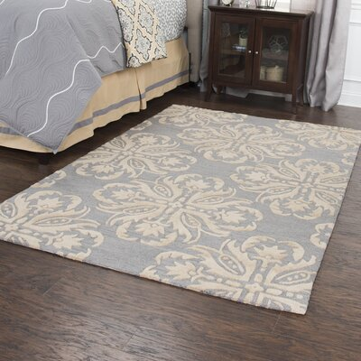 Gage Hand-Tufted Wool Gray/Beige Area Rug Rug Size: 5 x 8