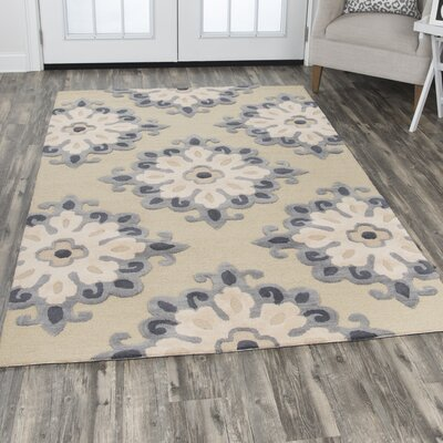 Raj Hand-Tufted Geometric Wool Beige Area Rug Rug Size: Rectangle 5 x 8