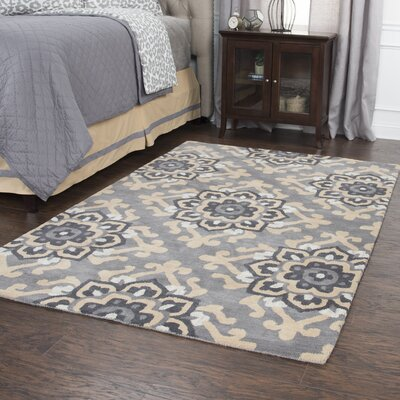 Raj Hand-Tufted Wool Gray Area Rug Rug Size: 5 x 8