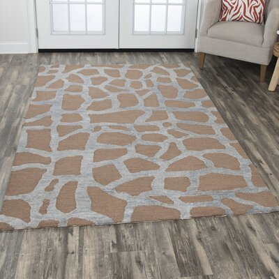 Comstock Hand-Tufted Wool Gray/Tan Area Rug Rug Size: Rectangle 8 x 10