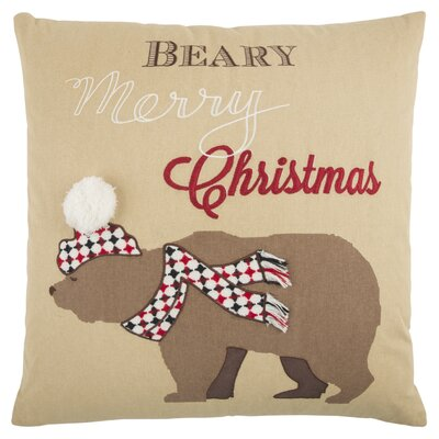 Holiday Snow Bear 100% Cotton Throw Pillow