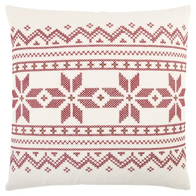 Geometric 100% Cotton Throw Pillow Color: White/Red
