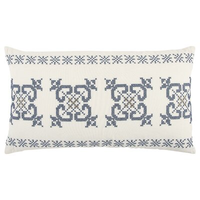 Geometric 100% Cotton Throw Pillow Color: White/Blue