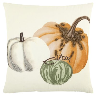 Georgeson Pumpkins Embroidered 100% Cotton Throw Pillow