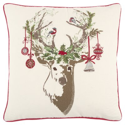 Deer 100% Cotton Throw Pillow