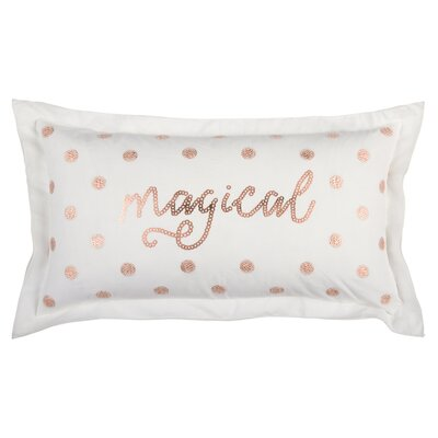 Holiday Magical 100% Cotton Lumbar Pillow Color: White/Golden