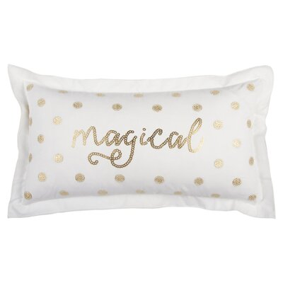 Magical 100% Cotton Throw Pillow Color: White/Red