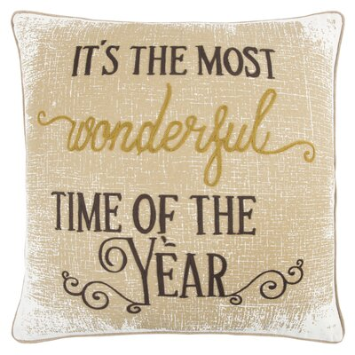 Holiday Its the Most Wonderful Time of the Year 100% Cotton Throw Pillow