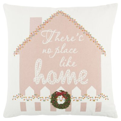 Holiday Gingerbread House 100% Cotton Throw Pillow