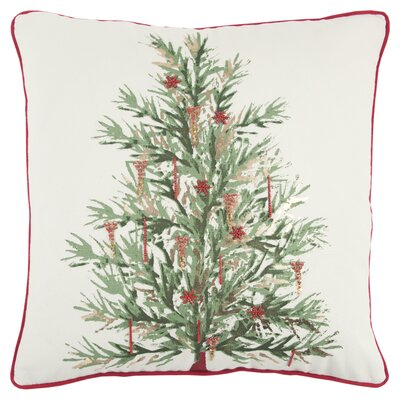 Holiday Tree 100% Cotton Throw Pillow