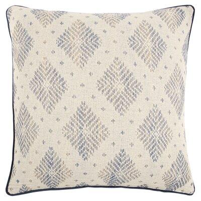 Saige Decorative 100% Cotton Throw Pillow Color: Natural/Blue