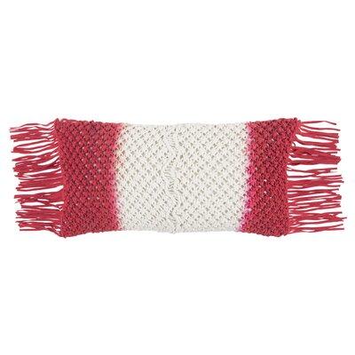 Eynesil Decorative 100% Cotton Lumbar Pillow Color: White/Red