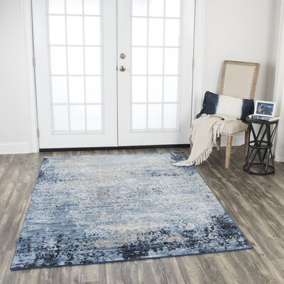 Lanette Blue/White Area Rug Rug Size: Rectangle 52 x 73