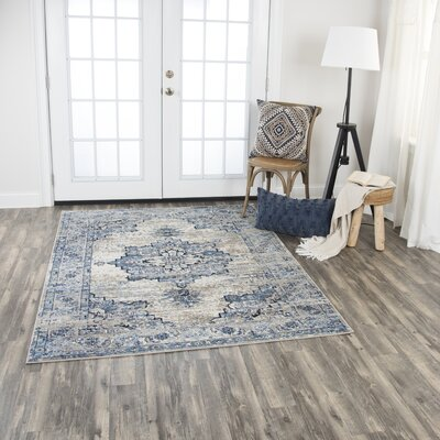 Lanette Blue/Gray Area Rug Rug Size: Rectangle 52 x 73