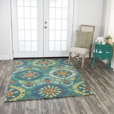 Bobbie Hand-Tufted Wool Emerald Green Area Rug Rug Size: 5 x 7