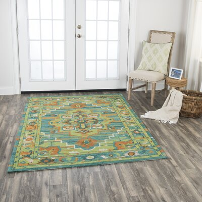 Roreti Hand-Tufted Wool Green Area Rug Rug Size: 7 x 10