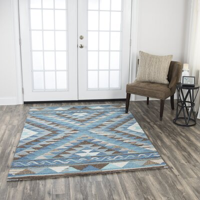 Roreti Hand-Tufted Wool Blue Area Rug Rug Size: 7 x 10