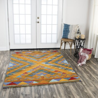 Roreti Hand-Tufted Wool Yellow Area Rug Rug Size: 5 x 7