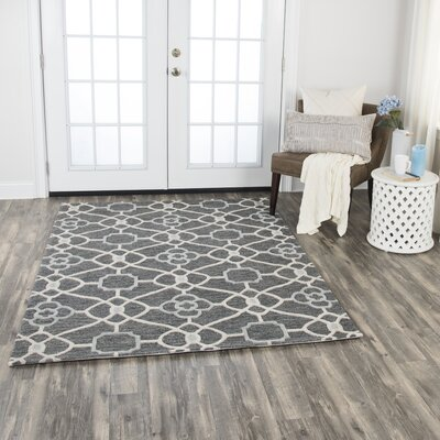 Genny Hand-Tufted Wool Charcoal Area Rug Rug Size: 5 x 7