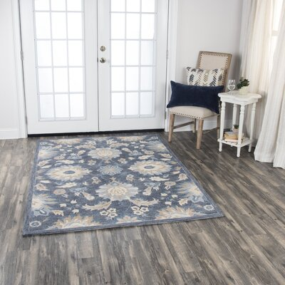 Genny Cottage Hand-Tufted Wool Blue Area Rug Rug Size: 5 x 7