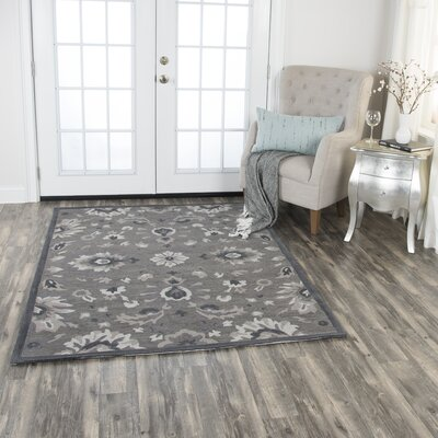 Genny Hand-Tufted Wool Dark Gray Area Rug Rug Size: 5 x 7
